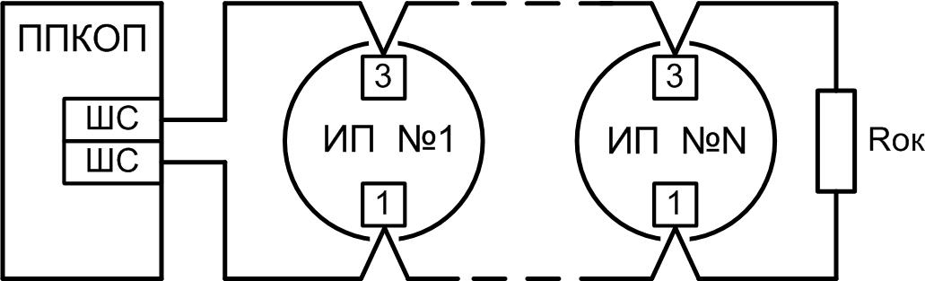 Схема подключения извещателя к